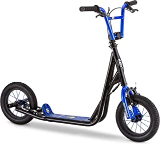 Mongoose Expo Scooter, Featuring Front and Rear Caliper Brakes and Rear Axle Pegs with 12-Inch Inflatable Wheels, Available in Blue/Black, Grey/Green, and Pink/Black Colorways (Renewed)