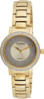 CITIZEN Womens Quartz Watch, Analog Display and Gold Plated Strap - EL3042-50P