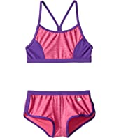 Heather Splice Boyshorts Two-Piece Swimsuit Set (Big Kids)