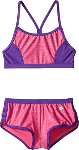 Speedo Kids - Heather Splice Boyshorts Two-Piece Swimsuit Set (Big Kids)