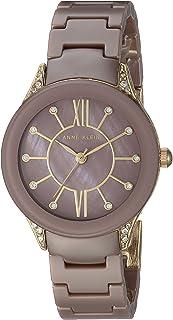 Anne Klein Women's AK/2388MVGB Swarovski Crystal Accented Gold-Tone and Mauve Ceramic Bracelet Watch