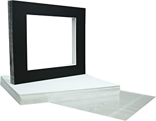 Golden State Art, Acid Free, Pack of 25 11x14 Black Picture Mats Mattes with White Core Bevel Cut for 8x10 Photo + Backing + Bags