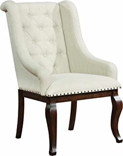 Glen Cove Arm Chairs with Button Tufting and Nailhead Trim Antique Java and Cream (Set of 2)