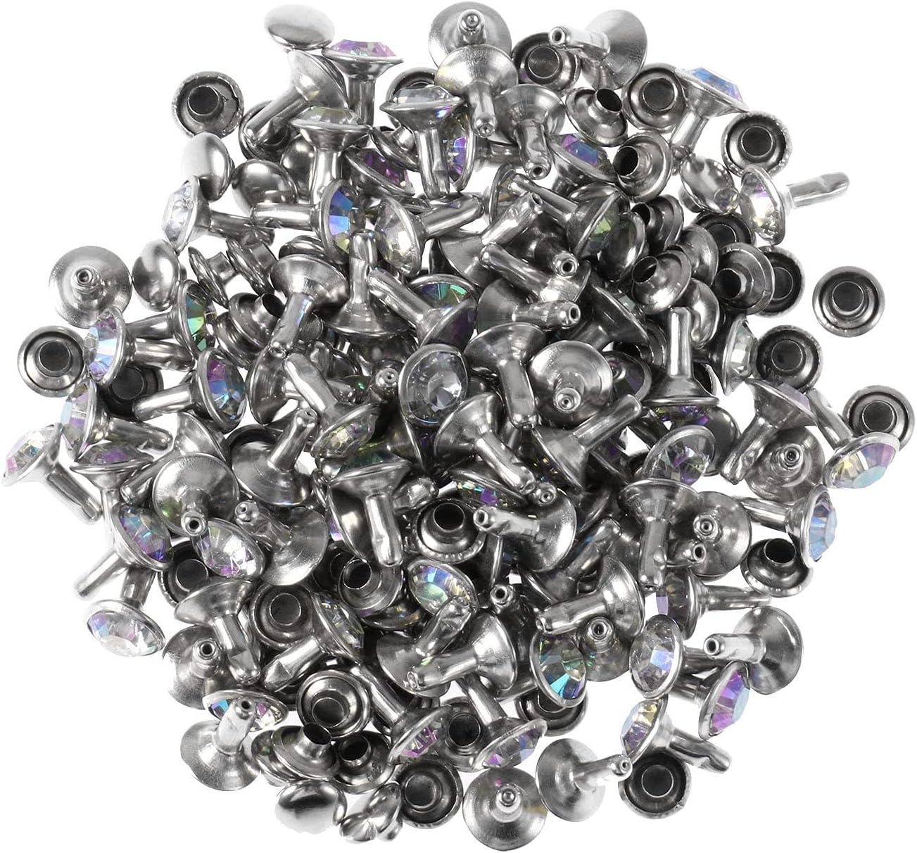 iiniim 100pcs Rhinestone Crystal Max 49% OFF Rivets Barbs Leather High material Copper Cra