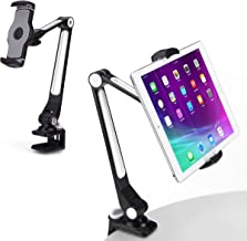 AboveTEK Sturdy iPad Holder, Aluminum Long Arm iPad Tablet Mount, 360° Swivel Tablet Stand & Phone Holder with Bracket Cradle Clamps 4-11