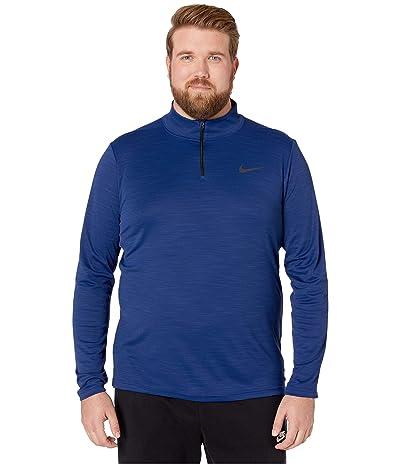Nike Big Tall Superset Top Long Sleeve 1/4 Zip (Blue Void/Black) Men