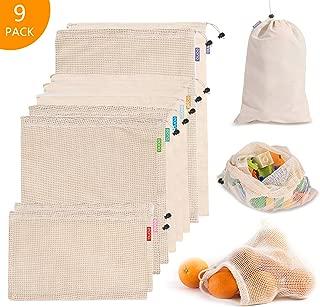 Eono by Amazon - Bolsas Compra Reutilizables Ecológicas, Bolsa Algodon de Malla, para Almacenamiento Fruta Verduras Juguetes Lavable y Transpirable, 9 Pcs (2L+5M+2S)