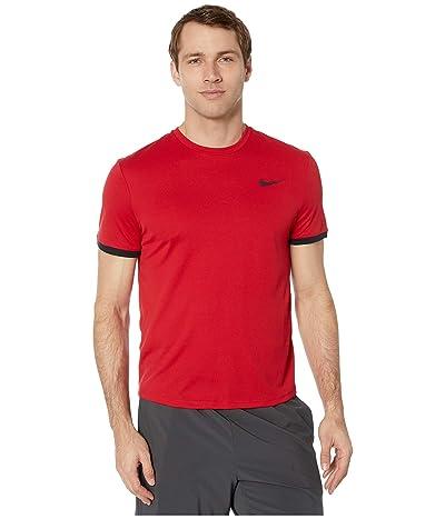 Nike NikeCourt Dri-FIT Short Sleeve Tennis Top (Gym Red/Bordeaux/Black/Black) Men