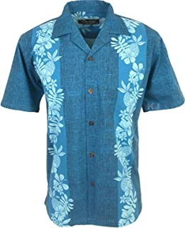 1424266d439b Favant Tropical Luau Beach Pineapple Panel Print Men s Hawaiian Aloha Shirt