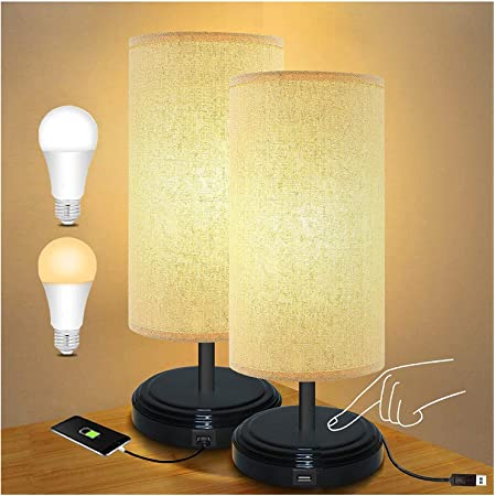 Lampe de Chevet LED, BRTLX USB Contrôle Tactile Lampe de bureau de chevet avec port de charge USB Idéal pour le salon Enfants Chambre à coucher Pack de 2 (Ampoules LED 6W E27 incluses)