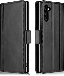 ProCase Galaxy Note 10 Genuine Leather Case, Vintage Wallet Folding Flip Case with Kickstand Card Slots Protective Leather Case for Galaxy Note 10 2019 -Black