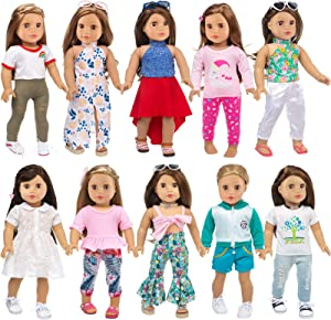 Ecore Fun 10 Sets American 18 Inch Doll Clothes and Accessories Doll Outfits Pajamas Dresses Hair Clips and Sunglasses Fit for 18 inch Doll Clothes