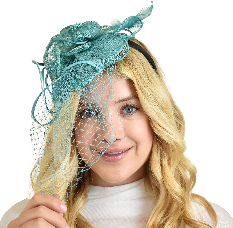 C.C Women's Elegant Cocktail Fashion Mesh Sinamay Fascinator Headband, F09085 Mint