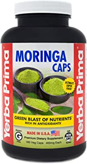 Yerba Prima, Moringa Caps, with 400mg of Pure Organic Leaf Powder, 180 Veg Capsules