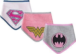 DC Comics Baby Girls 3 Pack Bandana Bibs Supergirl Batgirl Wonder Woman Gift Set 0-12 Months