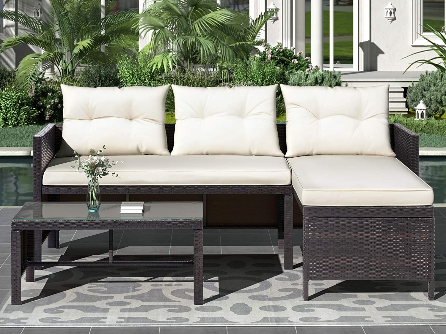 FURMIT 3 PCS Outdoor Rattan Furniture Cushions with Sofa Popularity Animer and price revision Set