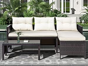 MAFOROB 3 PCS Patio Furniture Sets Outdoor Rattan Sectional Sofa with Cushions Glass Table, Brown