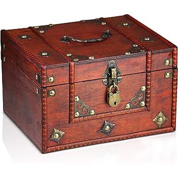 Brynnberg Caja de Madera Dominique 24x20x15cm - Cofre del Tesoro Pirata de Estilo Vintage - Hecha a Mano - Diseño Retro - joyero - con candado: Amazon.es: Hogar