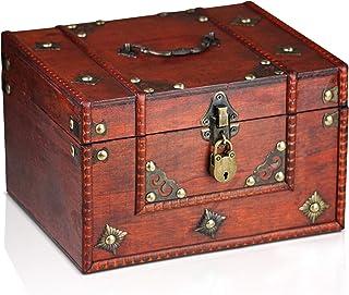 comprar comparacion Brynnberg Caja de Madera Dominique 24x20x15cm - Cofre del Tesoro Pirata de Estilo Vintage - Hecha a Mano - Diseño Retro - ...