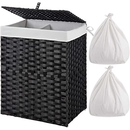 ZHANG Laundry Hamper Basket with Wooden Frame Dirty Clothes Bag for Home Use Black