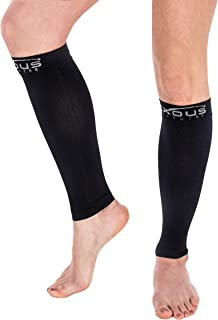 Compression Socks - Graduated Compression Sleeve Running - Helps Varicose Veins Shin Splints - Recovery For Men & Women (Medium-large) Calf Size 15