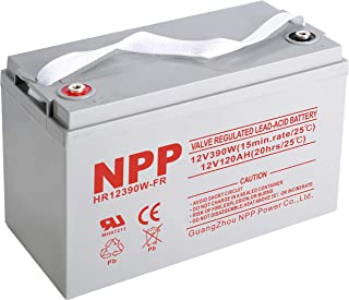 NPPower HR12390W 12V 390W, Flame Retardant 12V 120Ah,12Volt 120amp Sealed Lead Acid Rechargeable Battery with Button Style Terminals