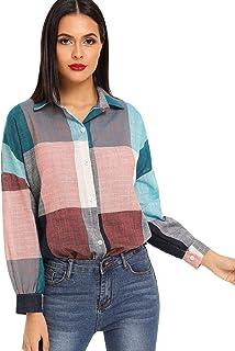 SheIn Women's Casual Linen Plaid Button Up Collar Long Sleeve Tunic Tops