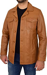 Mens Real Leather Reefer Jacket Classic Button Fastening Blazer Style Derek Tan