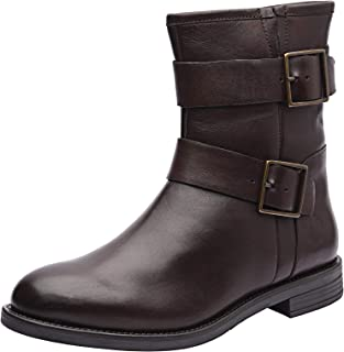 Allonsi Aimee Women's Genuine Leather Short Buckle Boots for Women with Low-Heel, TPR Sole and Zip Closure