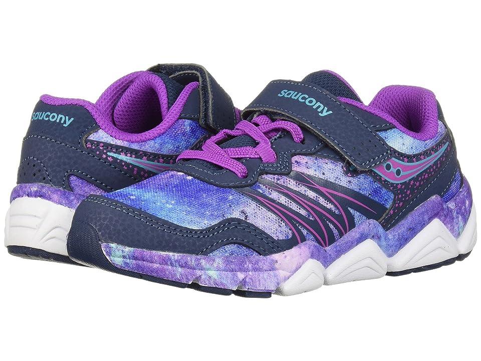 Saucony Kids Flash A/C (Little Kid) (Navy/Purple) Girls Shoes