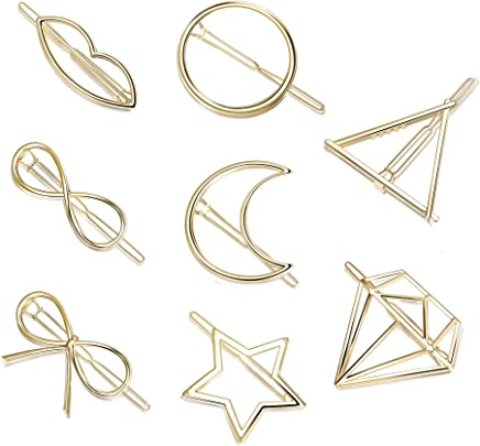 Hanpabum 8Pcs Hairpin Hair Clips Set for Women Girls Hair Accessories Minimalist Hollow Geometric Hairpin