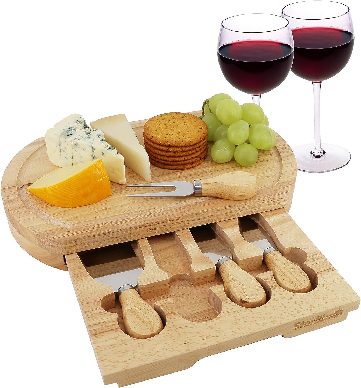 Queso Junta Set por starblue – con 4 cuchillos y madera de roble con cajón | gran queso y plato para servir de corte de plato bandeja | mejor para inauguración de la casa y regalo de cumpleaños
