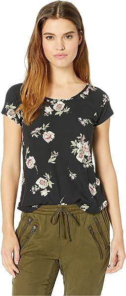 Raglan Short Sleeve Shirttail Top w/ Back Double Crisscross