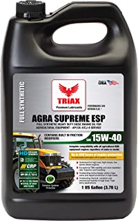 Triax Agra Supreme ESP 15W-40 CK-4 / CJ-4 Full Synthetic - Extreme Performance Agricultural Equipment Diesel Oil. Moly Friction Modified/Shear Stable/High Load Capacity (4 x 1 GAL Case)