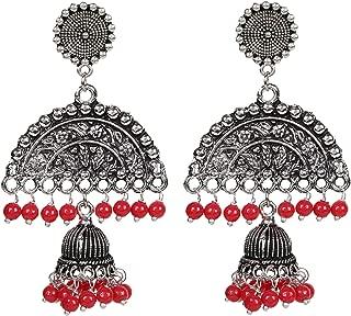 Sansar India Oxidized Stud Long Jhumka Jhumki Indian Earrings Jewelry for Girls and Women