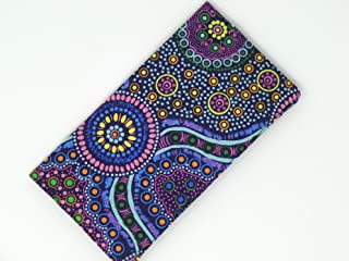 Checkbook Cover Australian Aboriginal Fabric Wild Bush Flower Purple