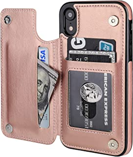 iPhone XR Wallet Case with Card Holder,OT ONETOP Premium PU Leather Kickstand Card Slots Case,Double Magnetic Clasp and Durable Shockproof Cover for iPhone XR 6.1 Inch(Rose Gold)