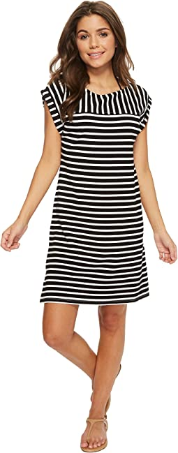 Breton Stripe Rolled-Sleeve Dress Cover-Up