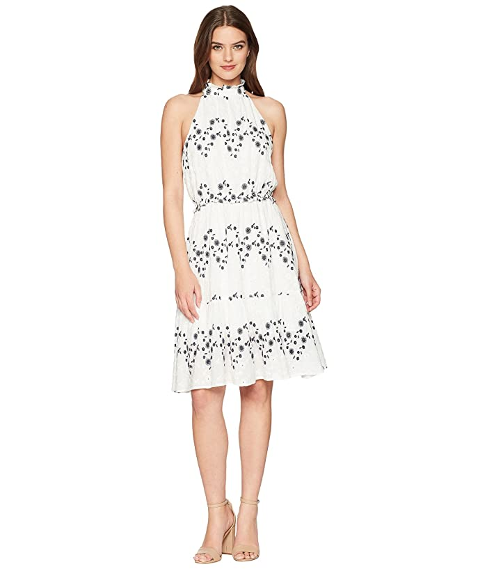 J.O.A. Halter Neck Midi Dress (White/Navy) Women
