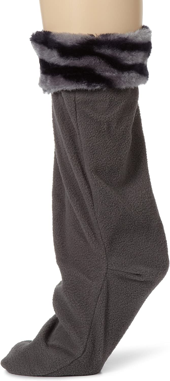 Betsey Johnson Women's Faux Fur Cuff Calf Length Boot Liner Socks