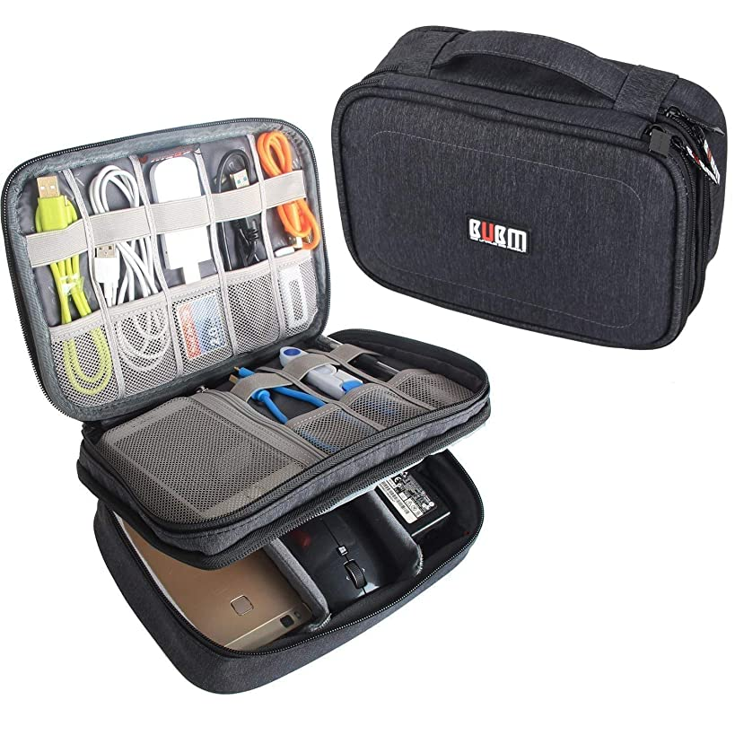 BUBM Electronic Organizer, Double Layer Travel Gadget Storage Bag for Cables, Cord, USB Flash Drive, Power Bank and More-a Sleeve Pouch for 7.9