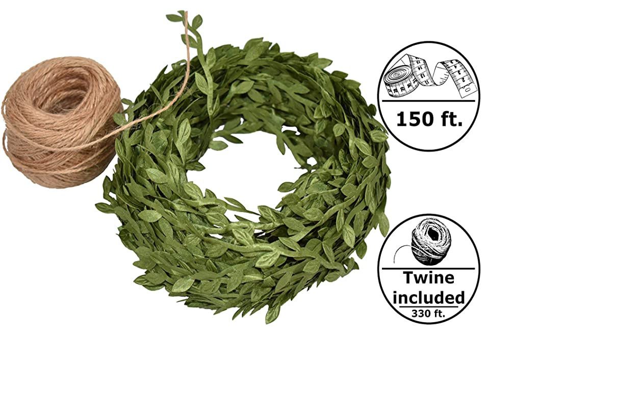 Artificial Vines Fake Greenery 150 ft Green Artificial Ivy Vines with Leaves + 330 ft of Natural Jute Twine Packing String Ribbon - for Wedding Greek Garden Party Home Decorative Garlands Wreaths DIY