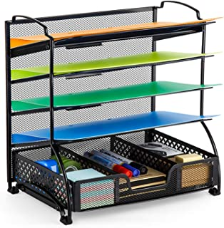 Bextsware 5-Tier Mesh Desktop Organizer File Folder with...