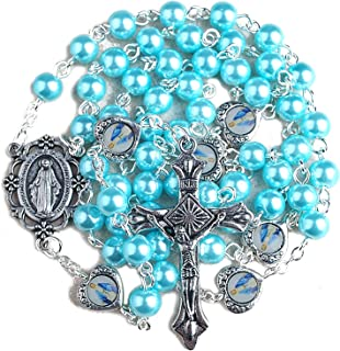 6mm Light Blue Glass Pearl Beads Rosary with Miraculous Medal