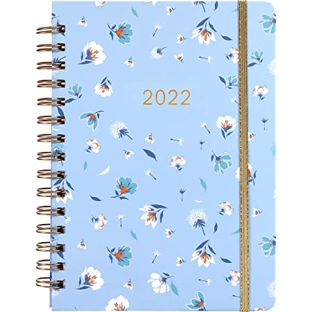"""Diary 2022-2022 Diary, Weekly & Monthly Diary, 8.43"""" x 6.3"""", January 2022 - December 2022, Flexible Spiral Hard Cover with Strong Golden Binding, Elastic Closure, Monthly Tabs"""