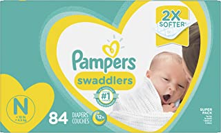 Diapers Newborn / Size 0 (< 10 lb), 84 Count - Pampers Swaddlers Disposable Baby Diapers, Super Pack