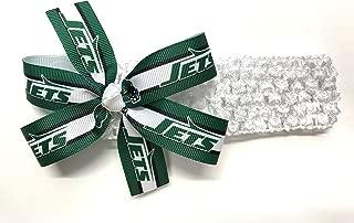 Baby Girls NFL New York Jets Headband Newborn Girls New York Jets Football Hair Bow