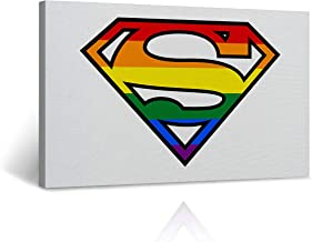 Buy4Wall LGBT Colorful Superman Logo Canvas Print Rainbow Colors Lesbian Gay Wall Art Decorative Decor Artwork Stretched and Framed - Ready to Hang -%100 Handmade in The USA - 8x12