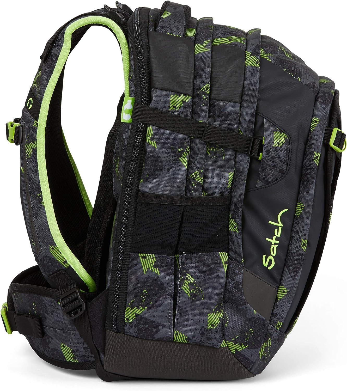 Satch match Schulrucksack - ergonomisch, erweiterbar auf 35 Liter, extra Fronttasche - Off Road - Black