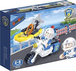 BanBao 61 Pieces Police Motor and Boat Series Toy - 4 to 8 Years